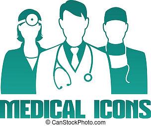 médico, icono, diferente, doctors