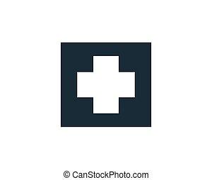 médico, icono, logotipo, ilustración, hospital, plantilla, diseño, vector