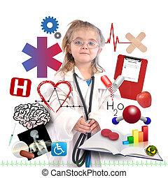 Médico infantil con carrera académica en blanco