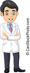 médico joven, caricatura, posición, macho