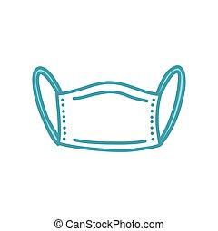 médico, máscara, ilustración, garabato, vector, icono