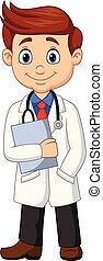 Médico masculino de dibujos animados sosteniendo un portapapeles
