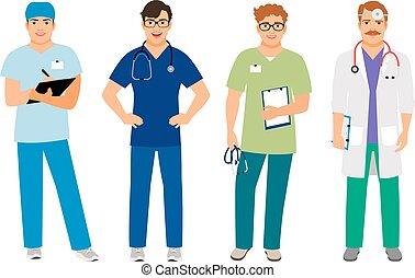Médico masculino en traje de hospital