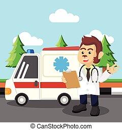 Médico mono parado frente a una ambulancia