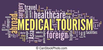 médico, palabra, turismo, nube