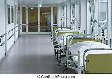 médico, pasillo del hospital, habitación