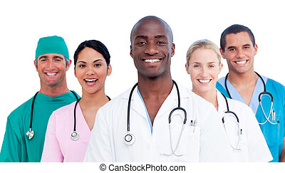 médico, positivo, retrato de equipo