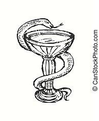 médico, serpiente