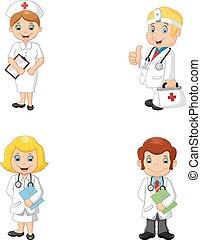 Médicos de dibujos animados y enfermeras
