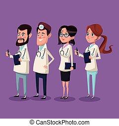 Médicos del equipo médico del hospital de color