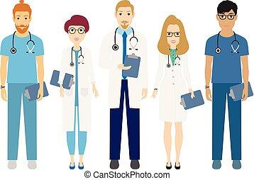 Médicos del equipo médico del hospital enfermeras cirujano vector de ilustración plana