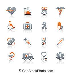 Médicos e iconos de cuidados de la muerte