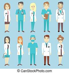 Médicos enfermeras personal médico personas vector de caracteres en estilo plano