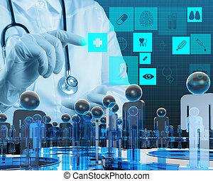 Médicos trabajando con computadora moderna