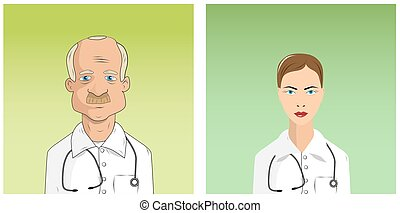 Médicos varones y mujeres