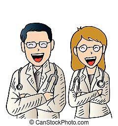 Médicos varones y mujeres.