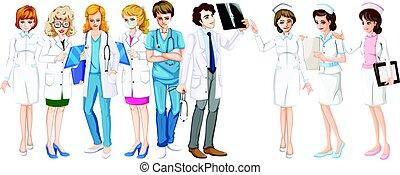 Médicos y mujeres y enfermeras