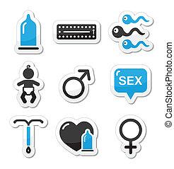 métodos, sexo, contracepción, iconos
