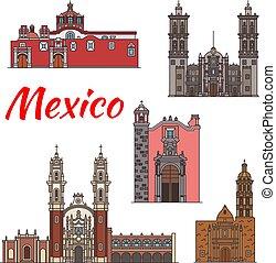 México marca vector de iconos de línea de arquitectura