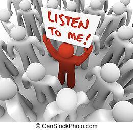 mí, multitud, conseguir, atención, señal, persona, tries, escuchar