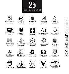 Mínima colección de plantillas de diseño de logo. Grandes símbolos de marca blanca y negra en diferentes temas