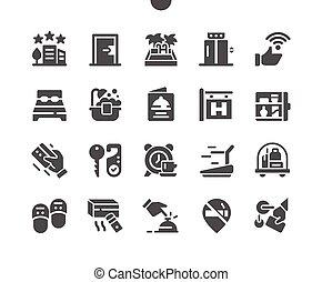 mínimo, cuadrícula, 2x, iconos, tela, pixel, well-crafted, gráficos, pictogram, simple, perfecto, vector, 30, apps., sólido, hoteles