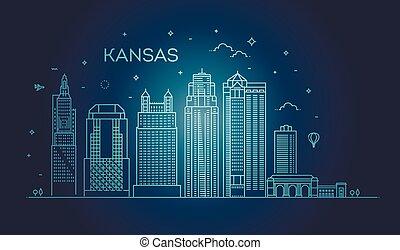 Mínimo horizonte lineal de Kansas City con diseño tipográfico