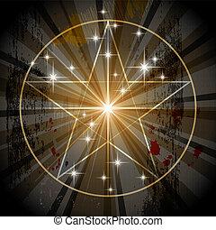 místico, antiguo, pentagram