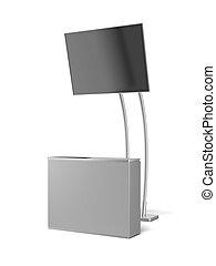 Módulo de publicidad en blanco con panel de televisión