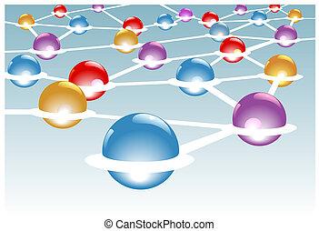 Módulos brillantes como nódulos conectados en un sistema de red
