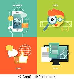 Móvil, óptimización de búsqueda e ilustración de marketing por Internet. Elementos de diseño con estilo o iconos en el fondo de color.