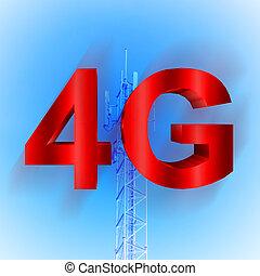 móvil, 4g, símbolo, torre telecomunicación