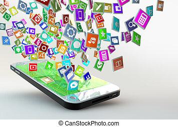 móvil, aplicación, nube, teléfono, iconos