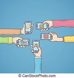 móvil, apps, manos