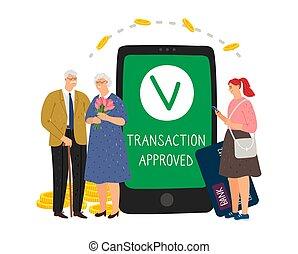 móvil, aprobado, transacción