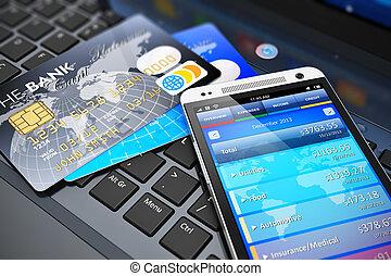 móvil, banca, concepto, finanzas