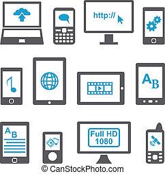 móvil, conjunto, computadoras, dispositivos, iconos