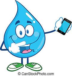 móvil, gota agua, teléfono