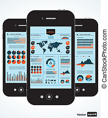 móvil, gráficos, infographic., conjunto