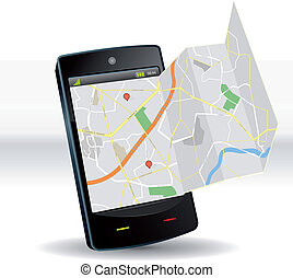 móvil, mapa, dispositivo, smartphone, calle