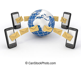 móvil, mensajes, sms, teléfono, votación, earth.