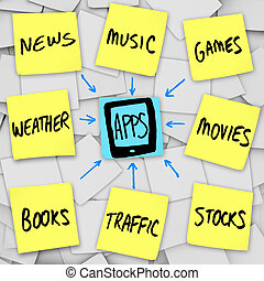 móvil, -, notas, apps, pegajoso, teléfono, descargue, elegante