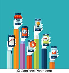 móvil, plano, diseño, concepto, apps
