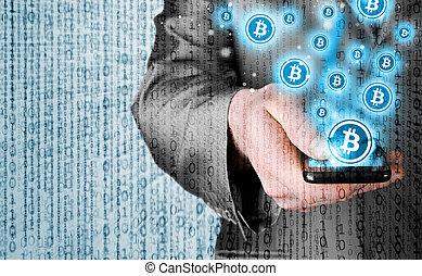 móvil, símbolo, bitcoin, mano, teléfono, elegante