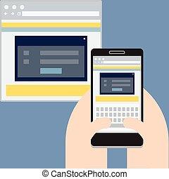 móvil, sitio web, exhibición