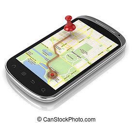 móvil, -, teléfono, navegación, elegante, gps