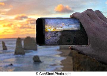 móvil, vacaciones, adulto, hombre, pho, fotos, toma, mano