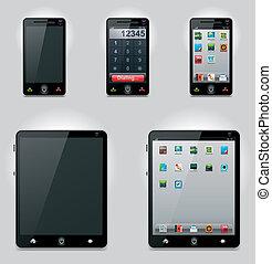 móvil, vector, computadora, tableta