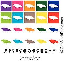 Múltiples colores con punteros del mapa de Jamaica