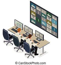 múltiplo, guardia, 3d, system., vector, vídeo, control, mirar, controlar, cubrir, isométrico, ilustración, seguridad, plano, vigilancia, footage., concept., habitación, cctv